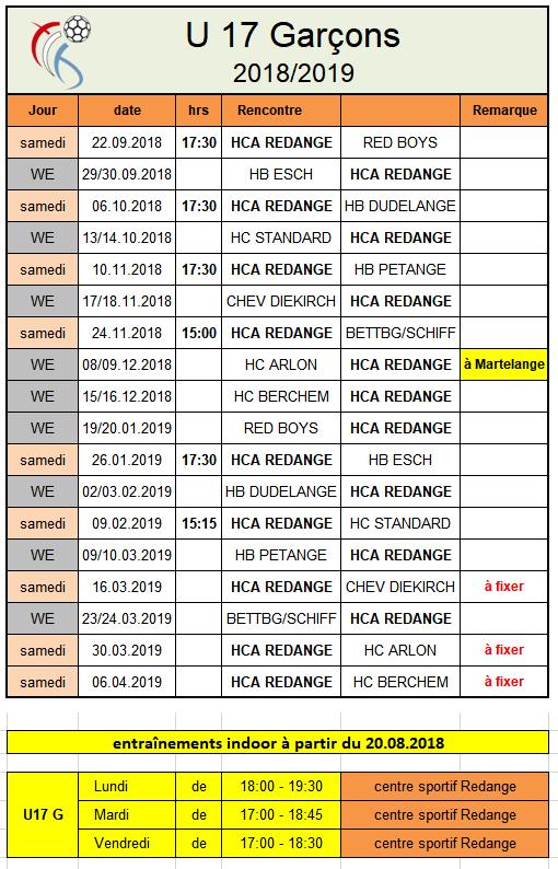 Programme U17 Garçons