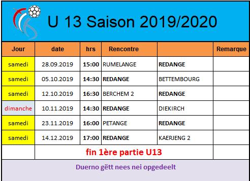 Programme U13 mixte Saison 2019/2020