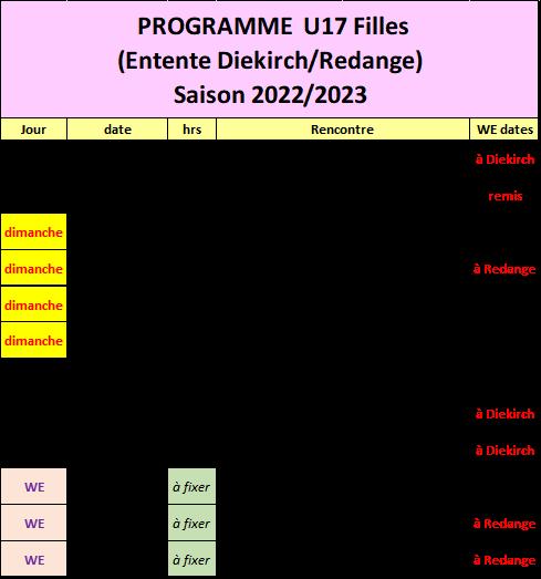 Programme U17 Jongen saison 2019/2020